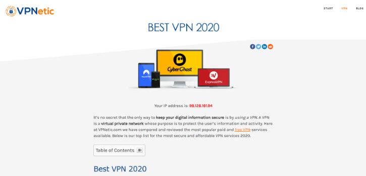 Choisissez un VPN dans la liste