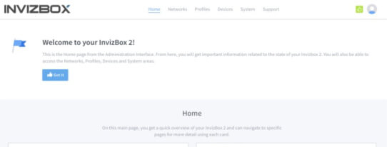 InvizBox 2 VPN Router Interface