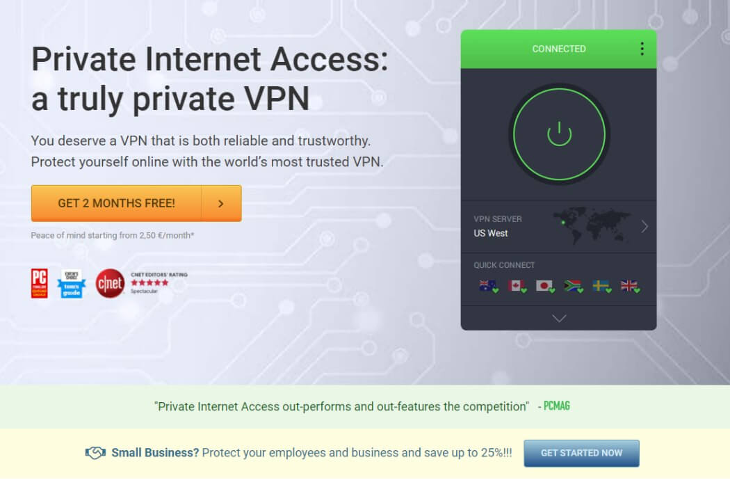 PrivateInternetAccess PIA VPN Website Screenshot Bewertung