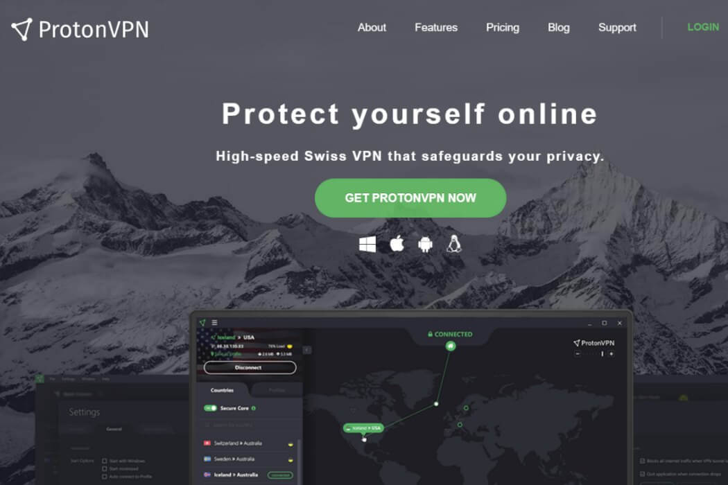 protonvpn website screenshot