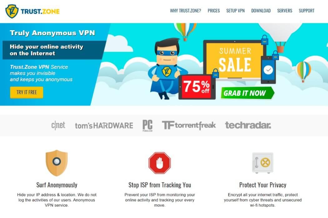trustzone vpn website screenshot